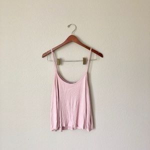 Pink Ribbed Flowy Tank Top